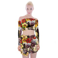 Flowers 1776534 1920 Off Shoulder Top With Mini Skirt Set