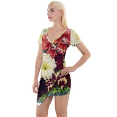 Flowers 1776585 1920 Short Sleeve Asymmetric Mini Dress