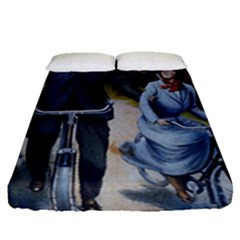 Couple On Bicycle Fitted Sheet (queen Size) by vintage2030