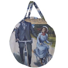 Couple On Bicycle Giant Round Zipper Tote by vintage2030