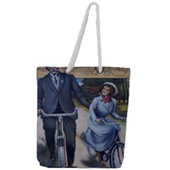 Couple On Bicycle Full Print Rope Handle Tote (large) by vintage2030