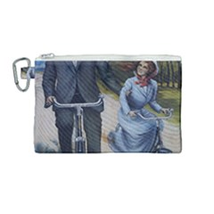 Couple On Bicycle Canvas Cosmetic Bag (medium) by vintage2030