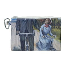 Couple On Bicycle Canvas Cosmetic Bag (large) by vintage2030