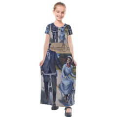 Couple On Bicycle Kids  Short Sleeve Maxi Dress by vintage2030