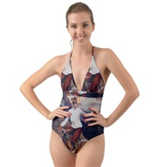 Woman On Bicycle Halter Cut Out One Piece Swimsuit