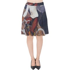 Woman On Bicycle Velvet High Waist Skirt by vintage2030