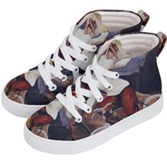 Woman On Bicycle Kid s Hi Top Skate Sneakers by vintage2030
