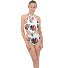 Roses 1770165 1920 Halter Side Cut Swimsuit by vintage2030