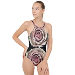 Vintage Rose High Neck One Piece Swimsuit