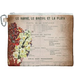 Letter Floral Canvas Cosmetic Bag (xxxl) by vintage2030