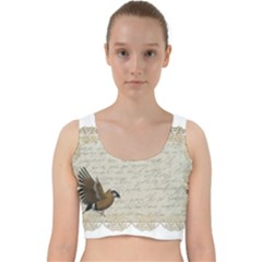 Tag Bird Velvet Racer Back Crop Top by vintage2030