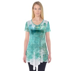 Splash Teal Short Sleeve Tunic  by vintage2030
