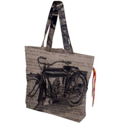 Bicycle Letter Drawstring Tote Bag by vintage2030