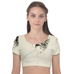 Vintage 2517507 1920 Velvet Short Sleeve Crop Top