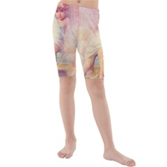 Baby In Clouds Kids  Mid Length Swim Shorts by vintage2030