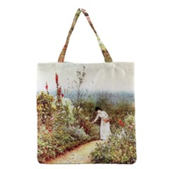 Lady And Scenery Grocery Tote Bag by vintage2030