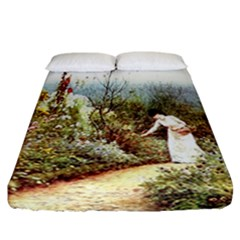 Lady And Scenery Fitted Sheet (california King Size) by vintage2030