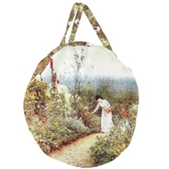 Lady And Scenery Giant Round Zipper Tote