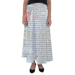 Rose Book Page Flared Maxi Skirt