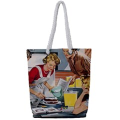 Retro Baking Full Print Rope Handle Tote (small)
