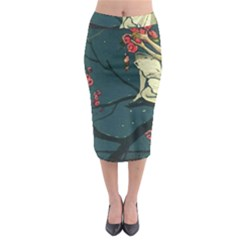 Girl And Flowers Midi Pencil Skirt by vintage2030