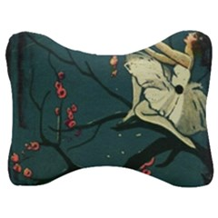 Girl And Flowers Velour Seat Head Rest Cushion by vintage2030