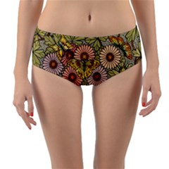 Flower And Butterfly Reversible Mid-waist Bikini Bottoms by vintage2030