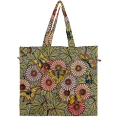 Flower And Butterfly Canvas Travel Bag by vintage2030