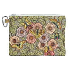 Flower And Butterfly Canvas Cosmetic Bag (xl) by vintage2030
