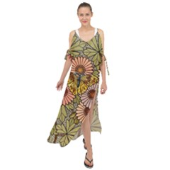 Flower And Butterfly Maxi Chiffon Cover Up Dress