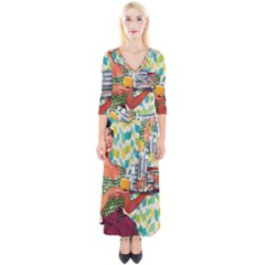 Retro Cokk Quarter Sleeve Wrap Maxi Dress
