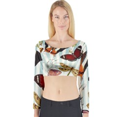 Butterfly 1064147 960 720 Long Sleeve Crop Top by vintage2030