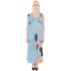 Retro 1107640 960 720 Quarter Sleeve Wrap Maxi Dress