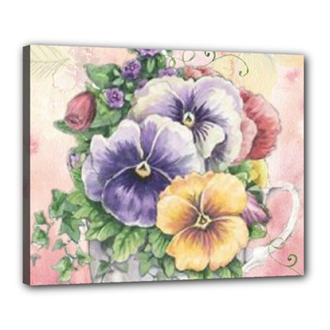 Lowers Pansy Canvas 20  X 16  (stretched) by vintage2030
