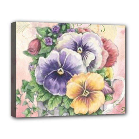 Lowers Pansy Deluxe Canvas 20  X 16  (stretched)