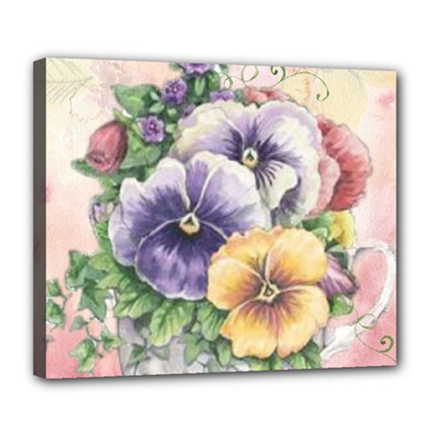 Lowers Pansy Deluxe Canvas 24  X 20  (stretched)