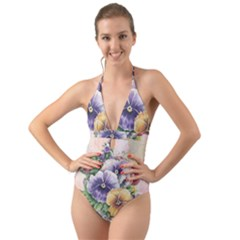 Lowers Pansy Halter Cut Out One Piece Swimsuit