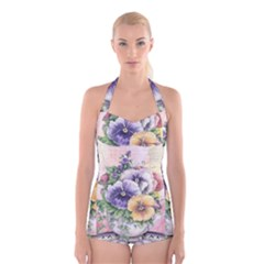 Lowers Pansy Boyleg Halter Swimsuit