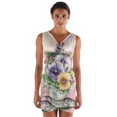 Lowers Pansy Wrap Front Bodycon Dress