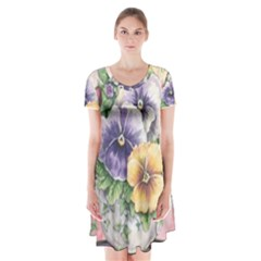 Lowers Pansy Short Sleeve V Neck Flare Dress