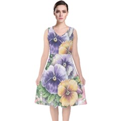 Lowers Pansy V Neck Midi Sleeveless Dress