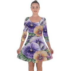 Lowers Pansy Quarter Sleeve Skater Dress