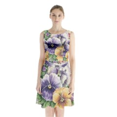 Lowers Pansy Sleeveless Waist Tie Chiffon Dress