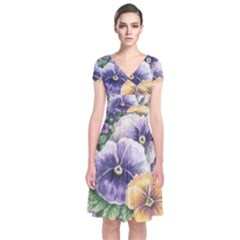 Lowers Pansy Short Sleeve Front Wrap Dress