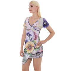 Lowers Pansy Short Sleeve Asymmetric Mini Dress by vintage2030