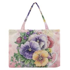 Lowers Pansy Zipper Medium Tote Bag by vintage2030