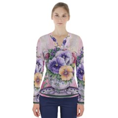 Lowers Pansy V Neck Long Sleeve Top