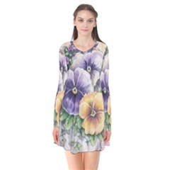 Lowers Pansy Long Sleeve V Neck Flare Dress