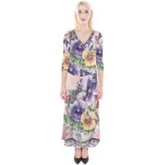 Lowers Pansy Quarter Sleeve Wrap Maxi Dress