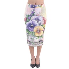 Lowers Pansy Velvet Midi Pencil Skirt